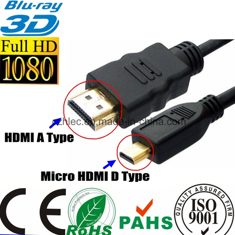 Micro HDMI to HDMI Cable for Cellpbone Camcorders HDTV (SY094) pictures & photos