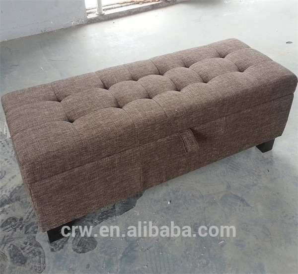 Brown Storage Ottoman with Buttons