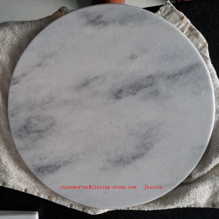 China Round Stone Marble Serving Board White With Grey Cutting Cheese Chopping
