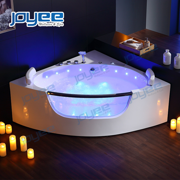 China Indoor Jacuzzi 2 Person Whirlpool Bathtub Couple Bath Tub With Tempered Glass China Hydro Jacuzzi Bathtub Indoor Jacuzzi