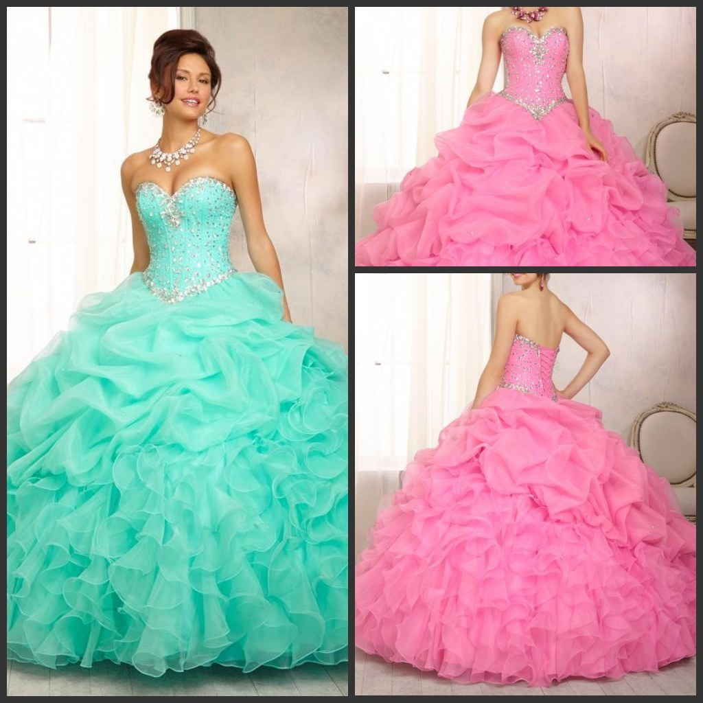 China Blue Pink Ball Gowns Organza Puffy Quinceanera Prom Dress ...