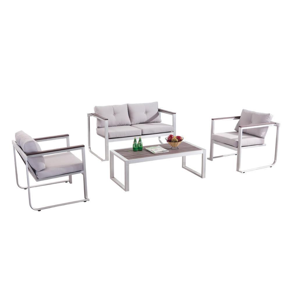 [Hot Item] Wood Armrest Brushed Frame Custom Cushion Outdoor Sofa Set