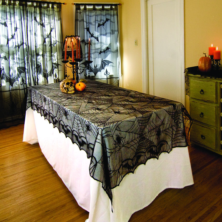 100% Polyester Halloween Lace Web Tablecloth (DH005)