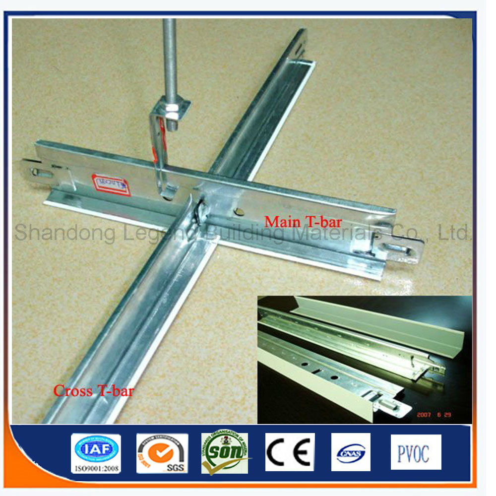 China Ceiling Tee Bar Zinc Galvanized T Grids Suspended Grid