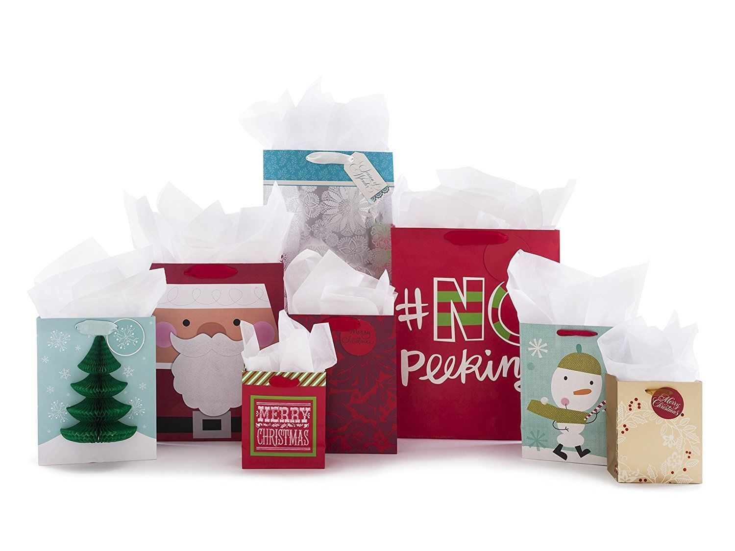china supplier christmas large gift bag with tissue paper santa stamp tag for xmas gift cc33