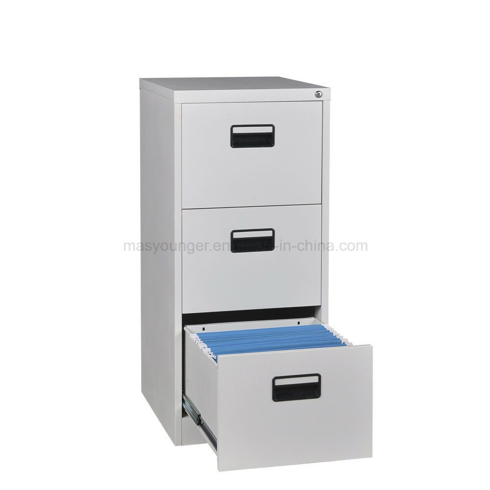 China E Save Office Furniture 3 Drawer Metal Safe Bedside Desk Use Steel Storage Key Lock File Cabinet Knocked Down Structure