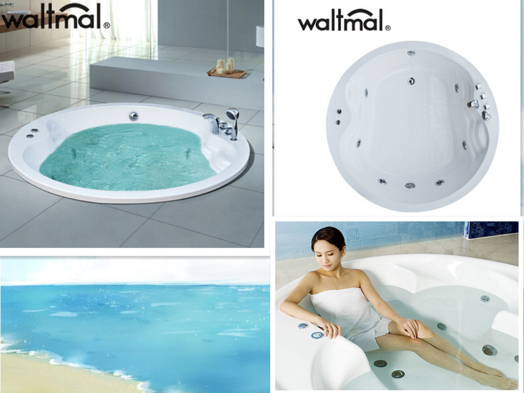 China Round Embed Builtd-in Air Bubble Massage Bathtub - China Built ...