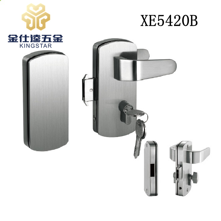 China Lever Handle Glass Door Lock With Knob For Sliding Xe5420b Clamp Frameless Clip