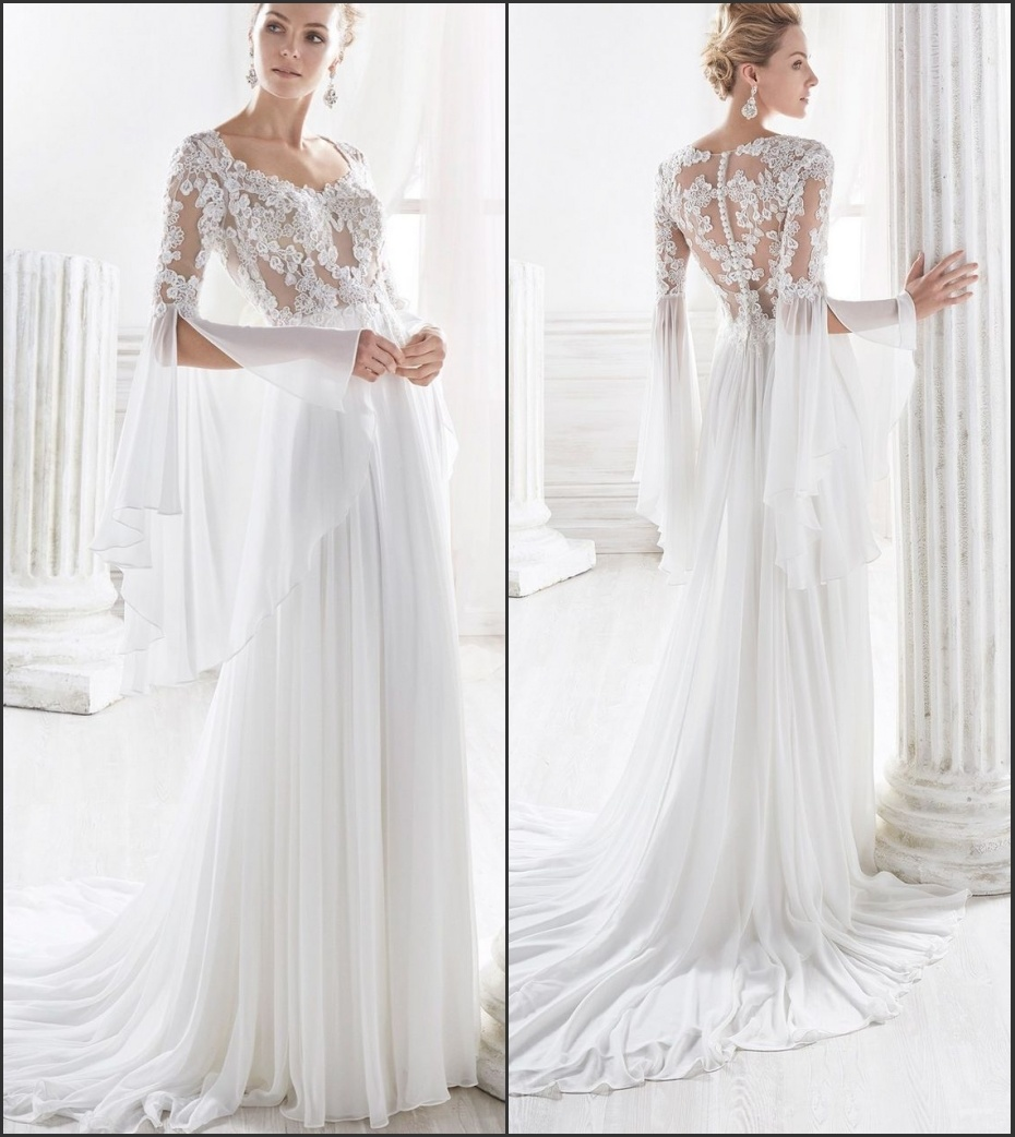 Hot Item Classic Wedding Dress Tulle Lace Long Trumpet Sleeves Bridal Wedding Gown W1789