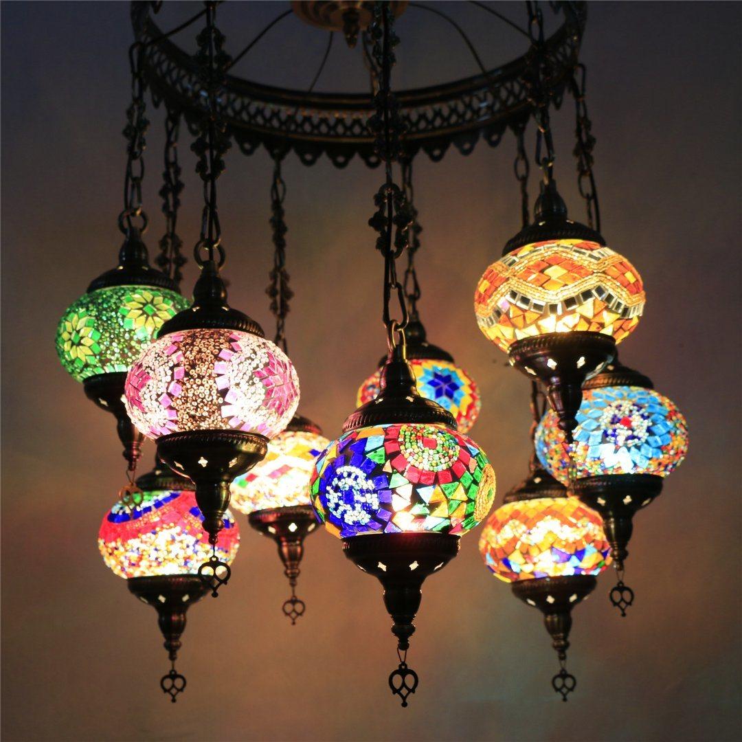 China amazing turkish 9 balls mosaic glass turkish hanging light