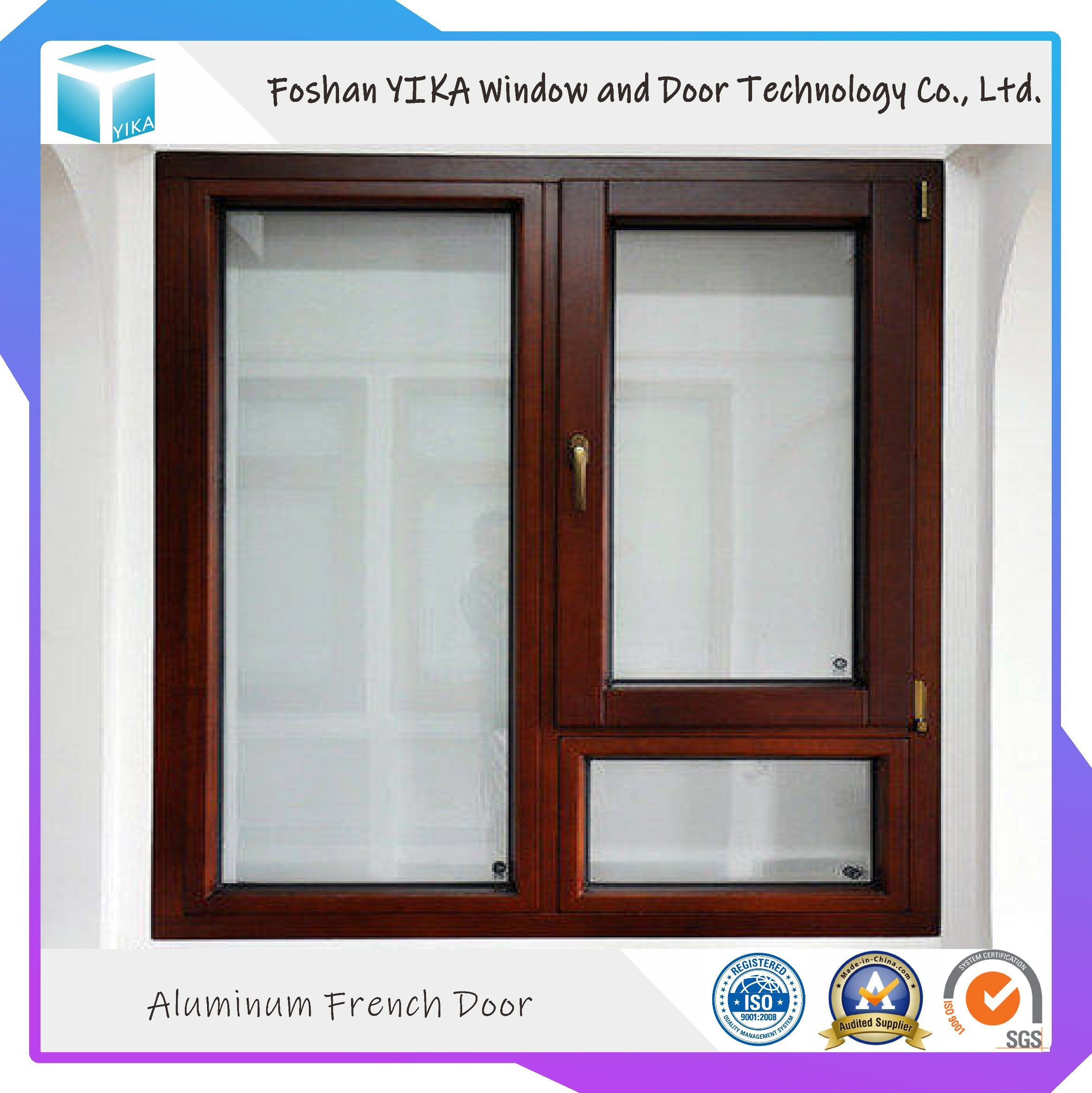 China French Design With Grill Double Glazing Insulated Aluminum