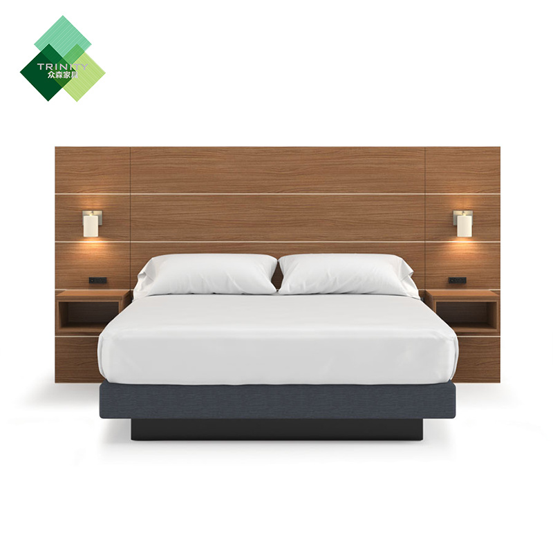 Hot Item Professional Customization Malaysia Style Star Hotel Wooden Mdf Bed King Size Headboard Bedroom Furniture