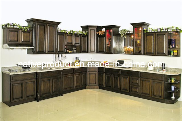 Cupboards Solid Wood Kitchen Furniture Kitchen Cabinet (Birch Stained)