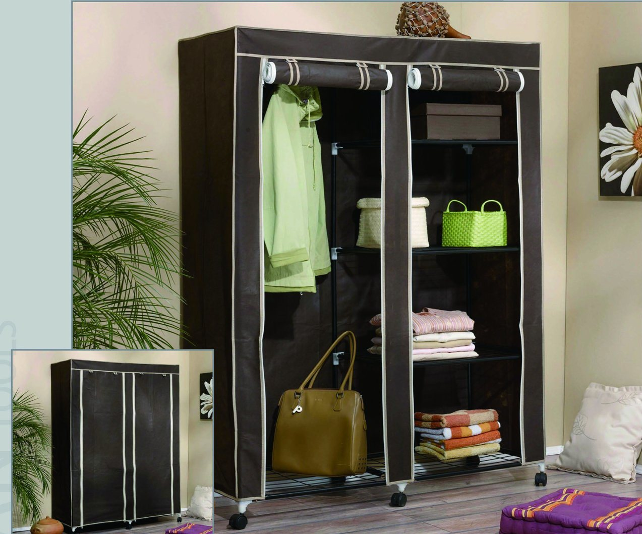 Iron Metal Frame Fabric Wardrobe pictures & photos
