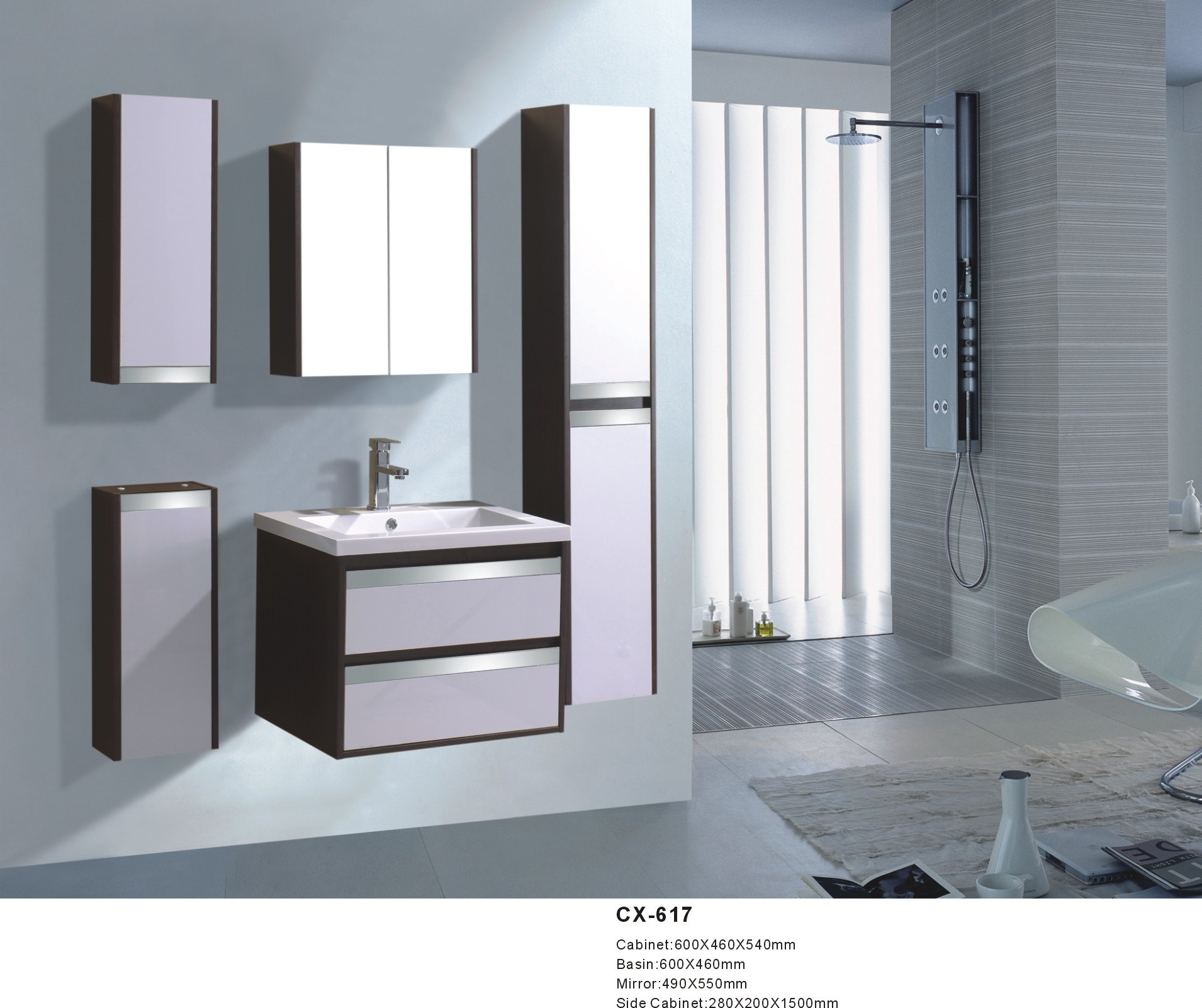 China 60cm Wide PVC Bathroom Vanity with Side Cabinets - China 600mm ...