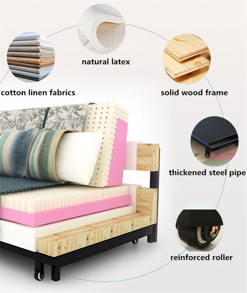 Whole Linen Foam Sleeping Foldable Sofa Bed Futon 192 120cm
