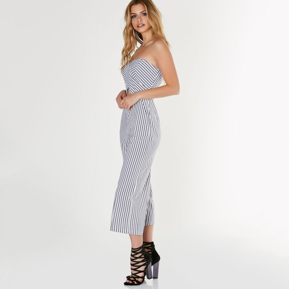 46f3bf6366d 2017 Summer Striped Print Women Jumpsuits Sexy Strapless off Shoulder  Sleeveless Front Hollow out Back Zipper Casual Jumpsuits