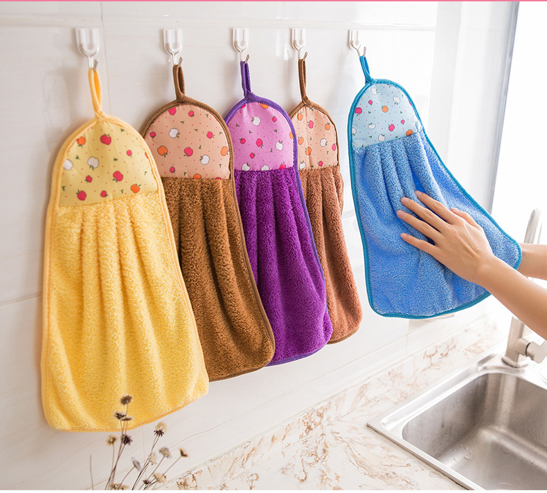 Hot Item 4 Pack Microfiber Kitchen Towels With Hanging Loop