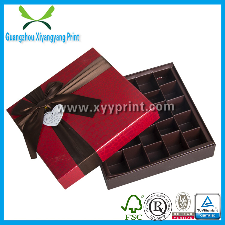 Custom Paper Chocolate Candy Box Packaging with Ribbon