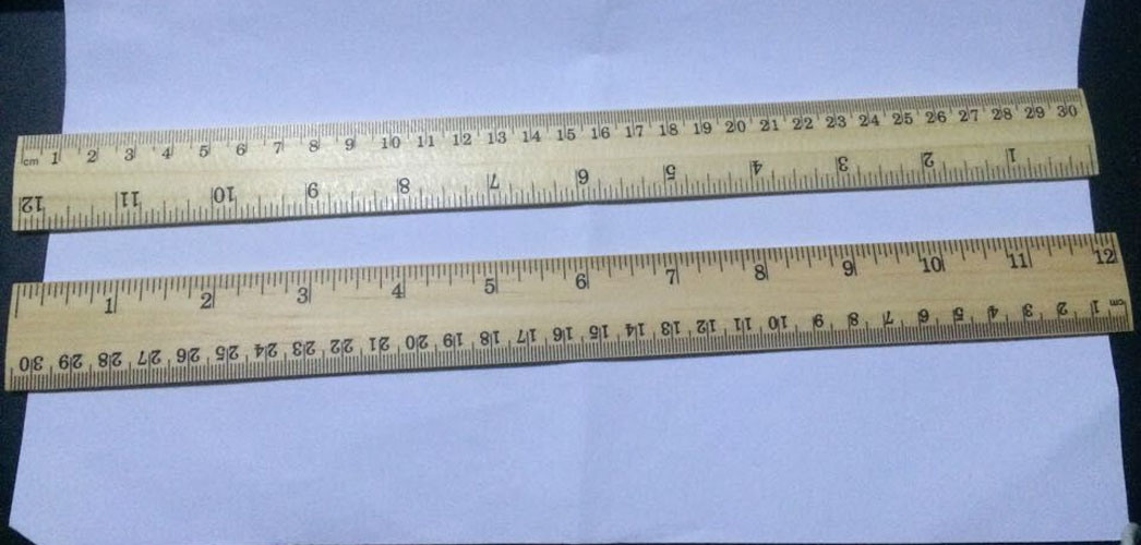 30cm Wooden Ruler with 4 Hole and Metal Scale pictures & photos