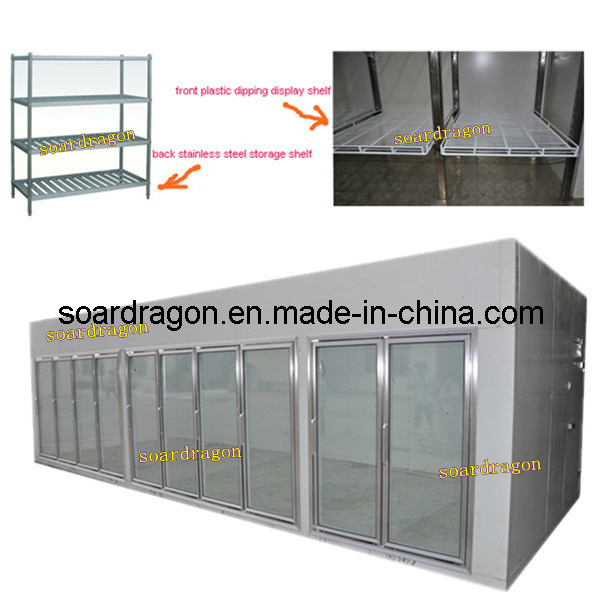Supermarket Cold Room with Glass Door with Temperature +2degree C