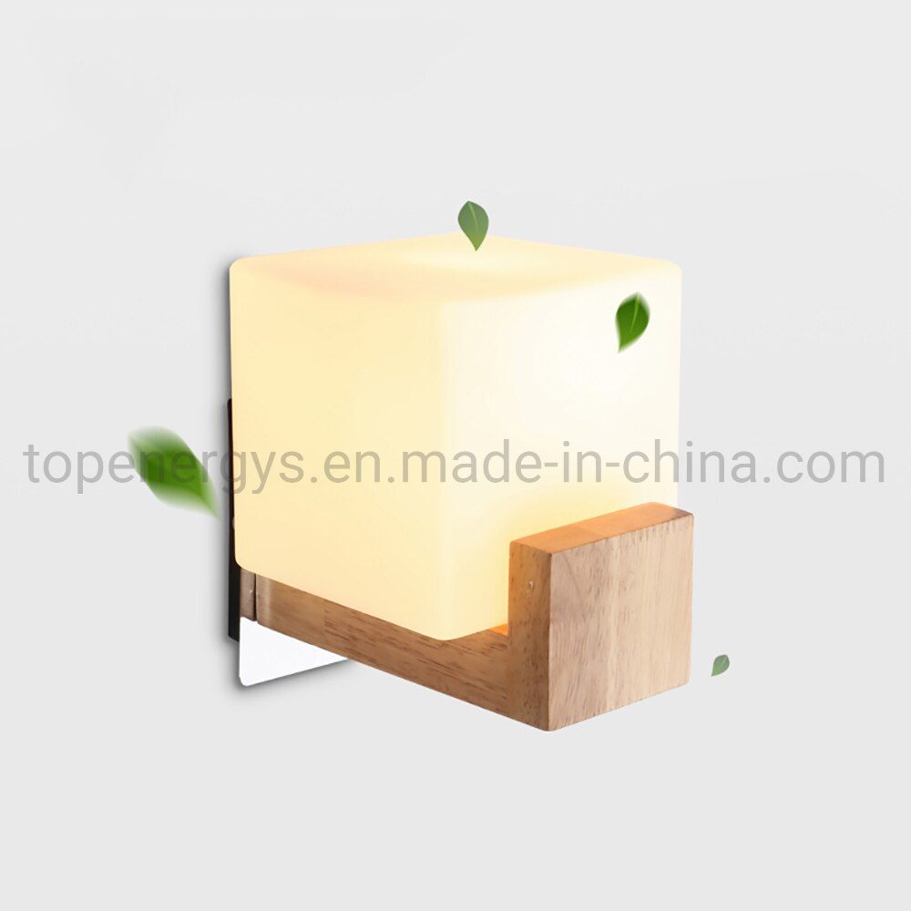 China Led Nightlight Wood Bases Acrylic Wall Mounted E27 220v Led Bulbs For Porch Aisle Lighting Cube Wall Lamps China Bedside Led Wall Light Hotel Wall Light