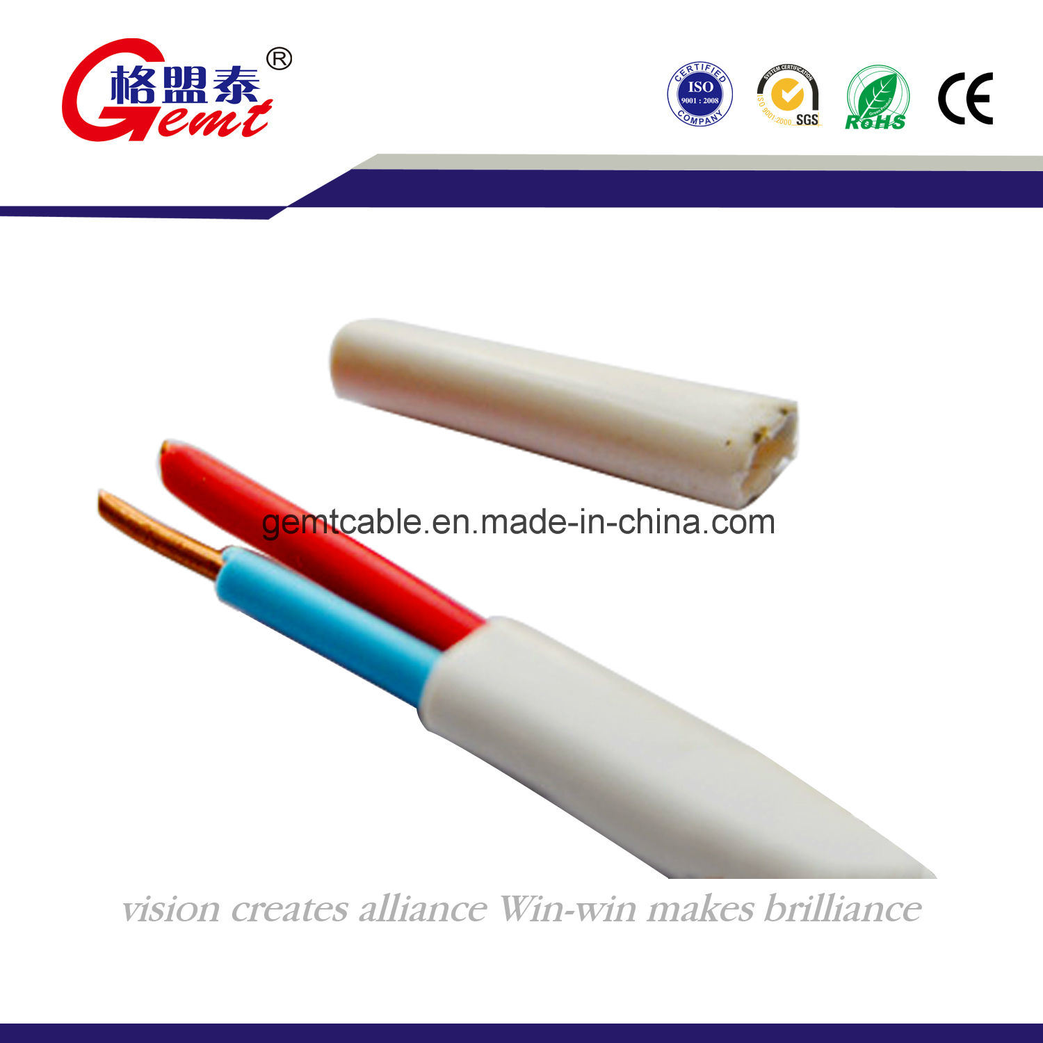 china spt copper stranded flat cable china electrical cable cca cable rh gemtcable en made in china com