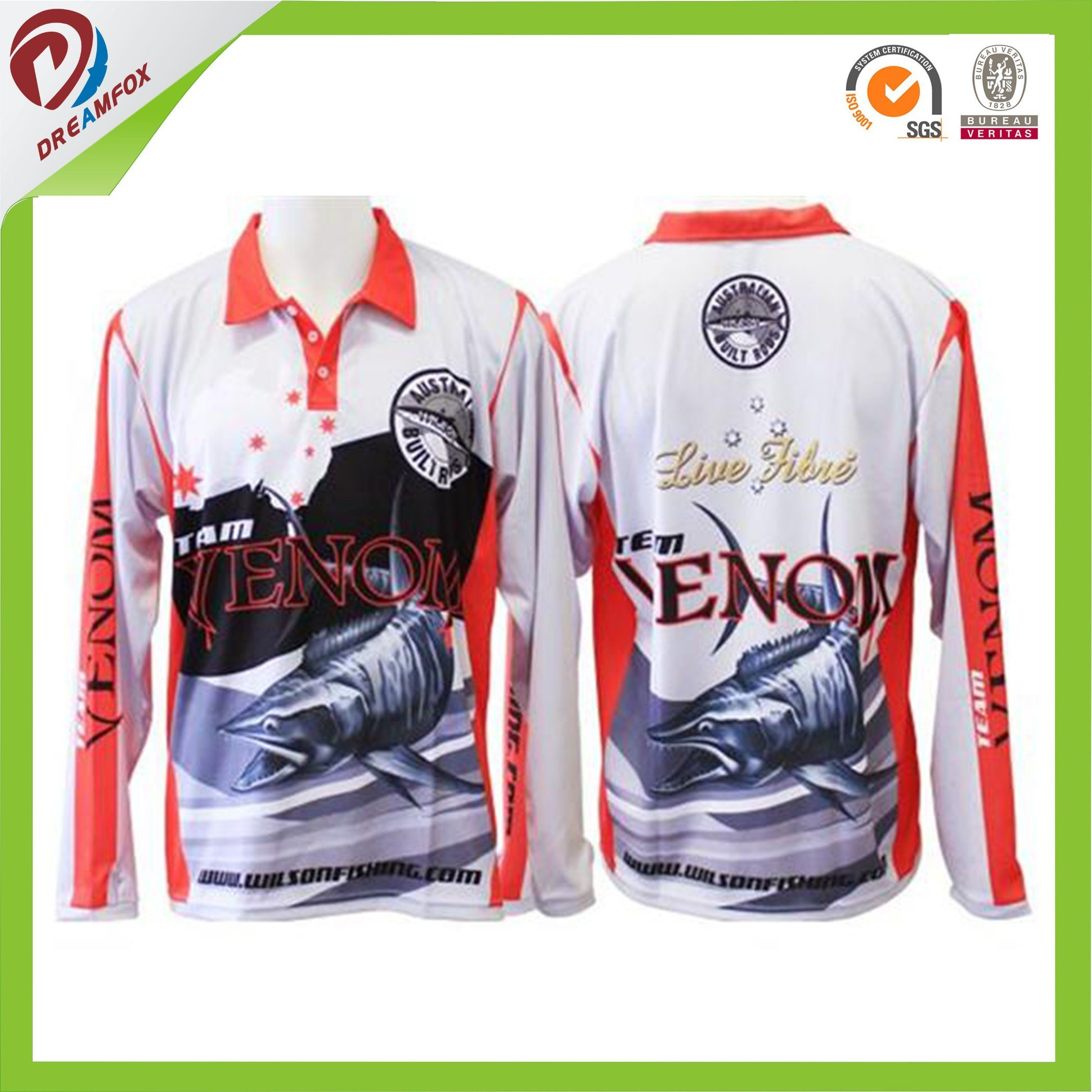 China High Quality Customized Sublimation Fishing Shirts For