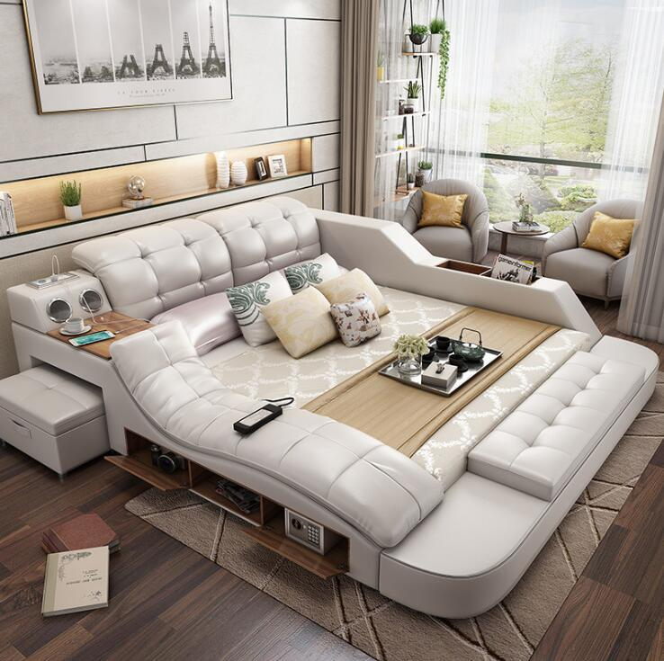 China Home Furniture Bedroom Multifunction Storage With Massage Music Design Of Leather Sofa King Bed Tatami Factory Wholesale Price