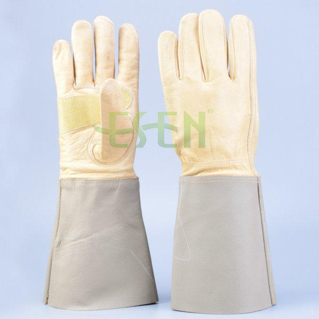 Whosale Full Plam Safety Work Welder Gloves Cow Split Leather Welding Leather Gloves