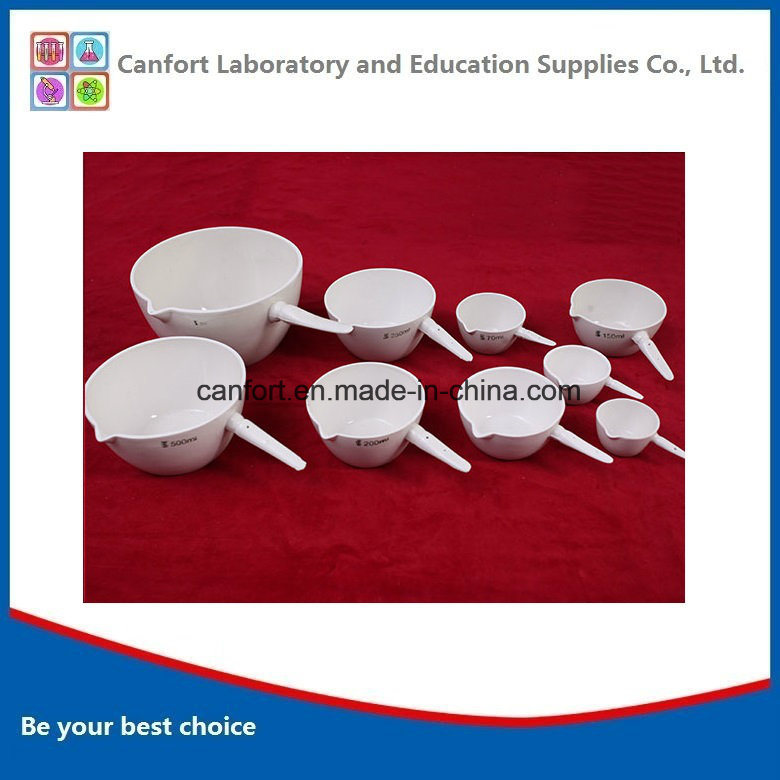 Porcelain Evaporating Dish with Handle for Laboratory Use