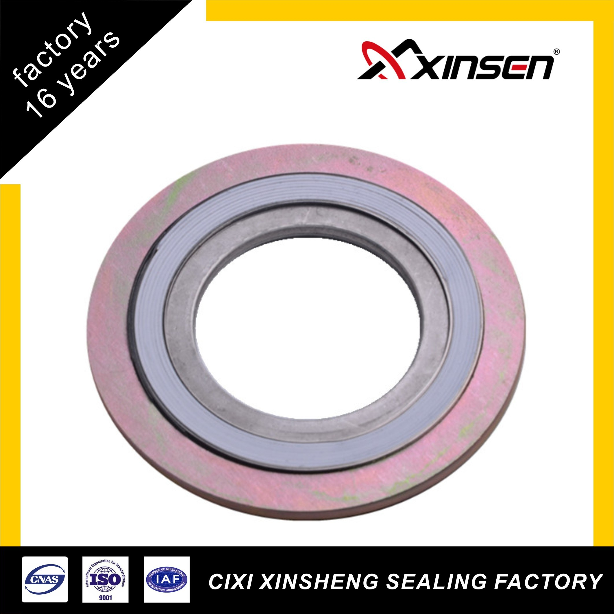 [Hot Item] Ss304 Inner Ring CS Outer Ring PTFE Filler Spiral Wound Gasket  with ASME16 20 Standard