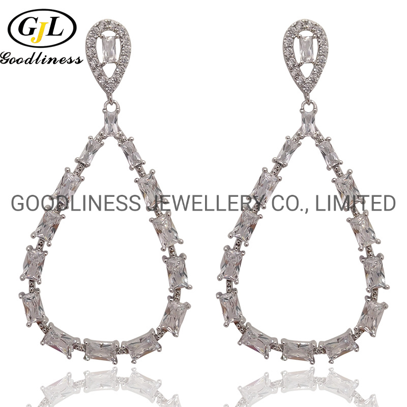 Black CZ Silver Earring 925 Sterling Silver Rose Gold Plated