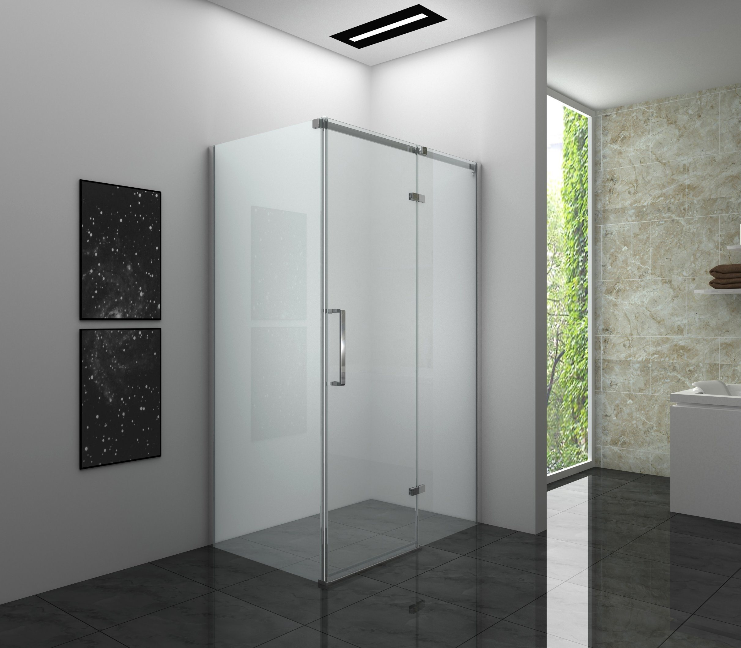 China Combination Shower Enclosure Pivot Door With Fixed