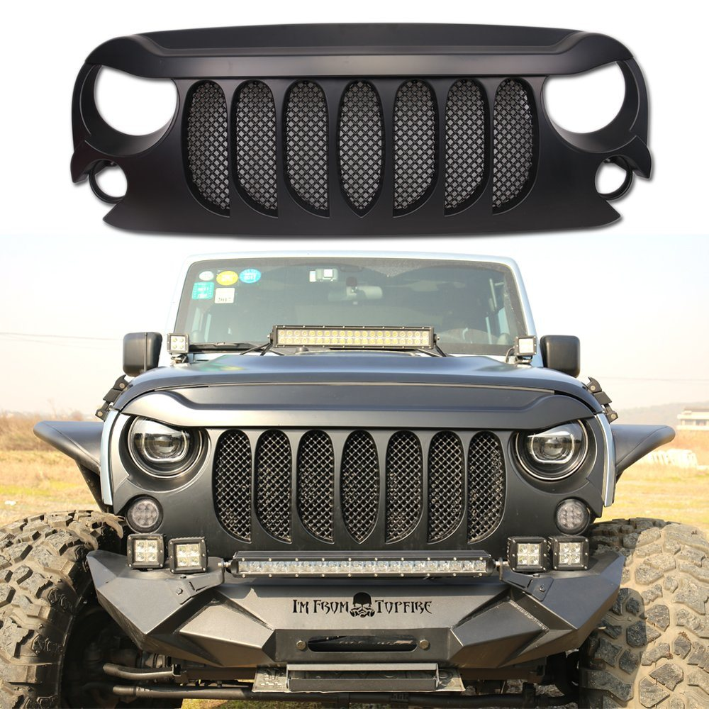 Jeep Wrangler Accessories 2017 >> Hot Item Black Abs Front Grill For Jeep Jk Wrangler 2007 2017 Car Accessories