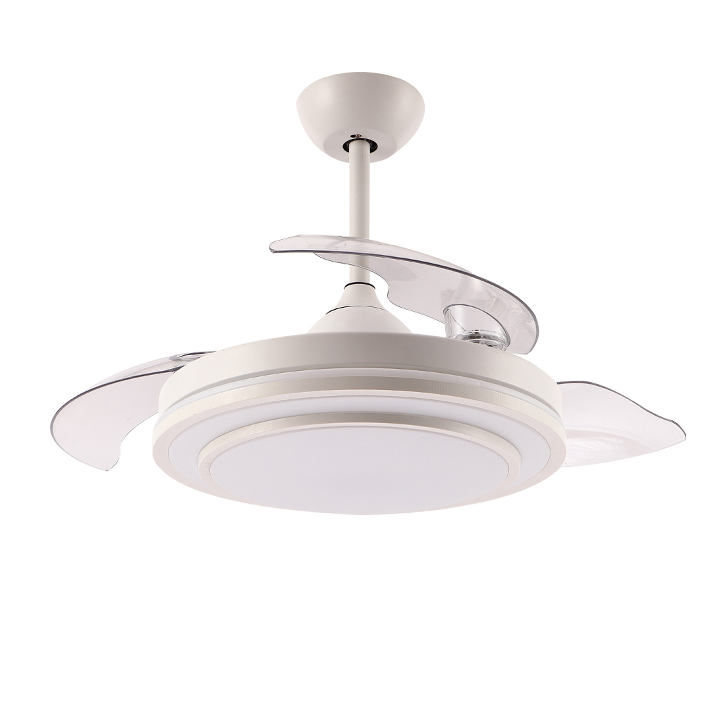 China Factory New Design Retractable Hidden Blades Ceiling Fan With Led Light And Remote Control Dc Pure Copper Fan China High Lumen Ceiling Fan And Retractable Ceiling Fan Light Price