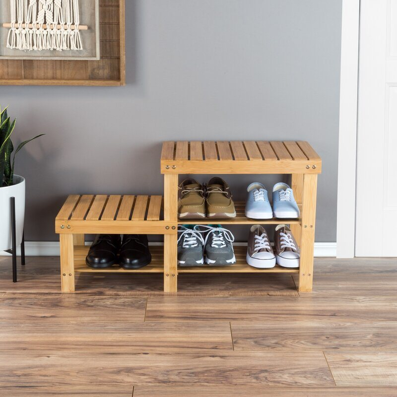 China Home Furniture Uv Painting 2 Tier Bamboo 6 Pair Shoe Rack Bench With Open Shelfs For Living Room China Home Furniture Mdf
