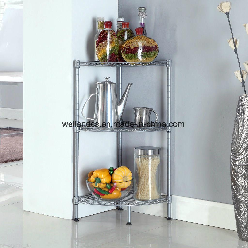 China Home Shelves Rack 3 Tier Metal Wire Corner Kitchen Storage ...