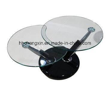 Living Room Metal Glass Rotatable Coffee Table