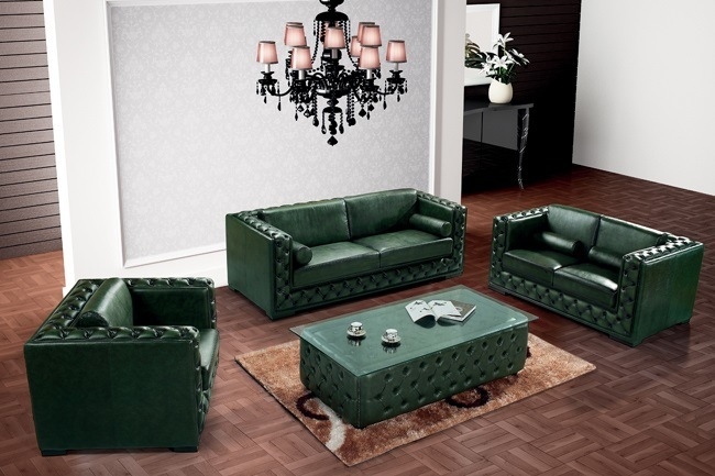 [Hot Item] Modern Leather Chesterfield Sofa Green Color Ms-12