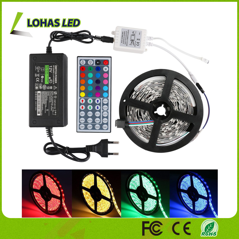 IP65 Waterproof SMD 5050 60 LEDs/Meter 5m/Roll Flexible RGB LED Strip Light with Remote Control pictures & photos