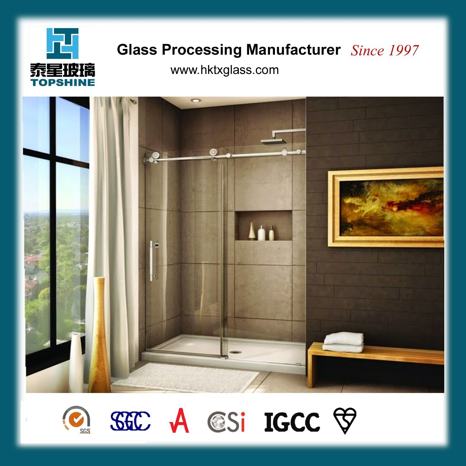 China Frameless Glass Sliding Door Glass Shower Cubicle Door For