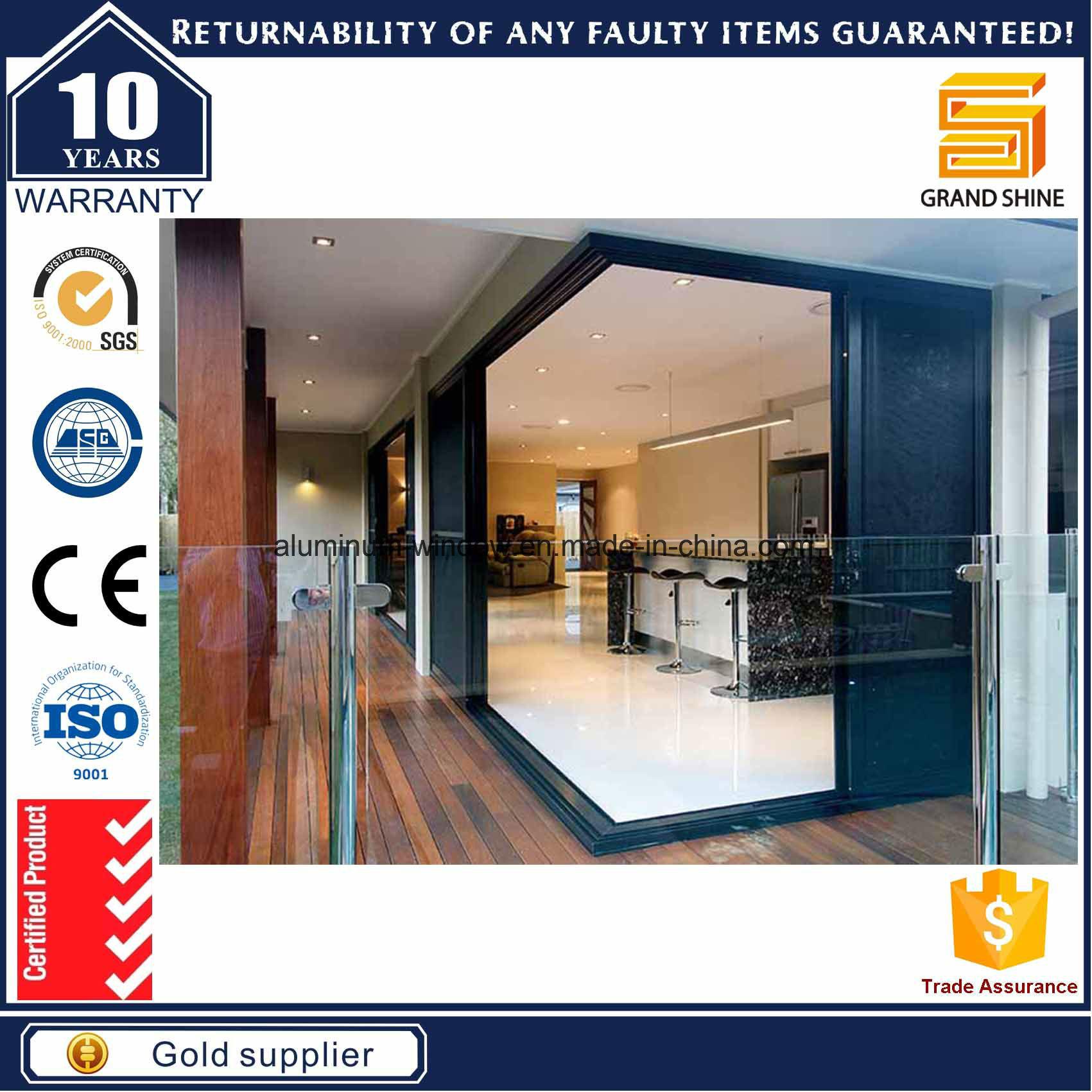 China Sound Insulation Interior Aluminum Sliding Stacker Door