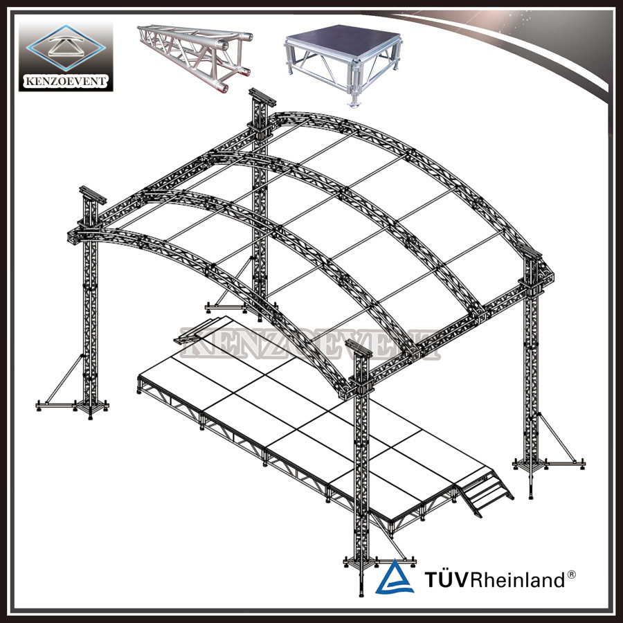 China Factory Price Aluminium Studio Truss Curved Roof For Diagram Concert