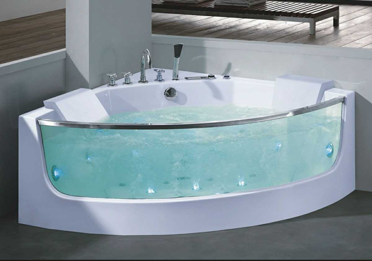 China 1380mm Corner Freestanding Massage Bathtub with Front Glass ...