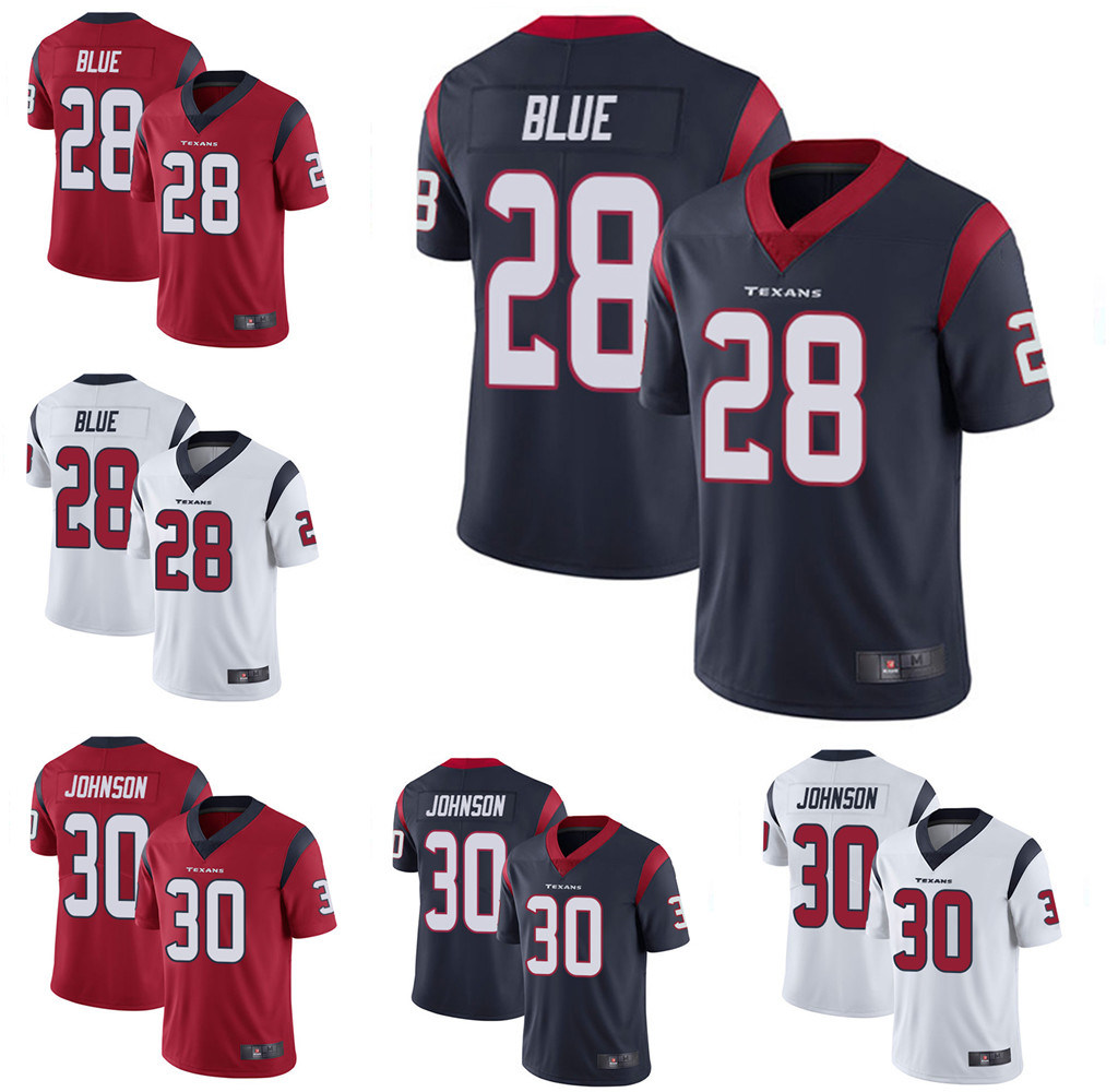 buy online fe31f adae4 [Hot Item] Mens Houston Alfred Blue Andre Johnson Customized Football Jersey