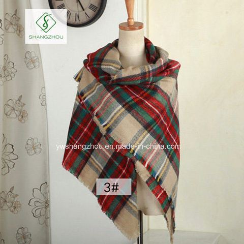 d8e65fa3e8fac China High Quality Cashmere Plaid Shawl Lady Fashion Acrylic Square ...