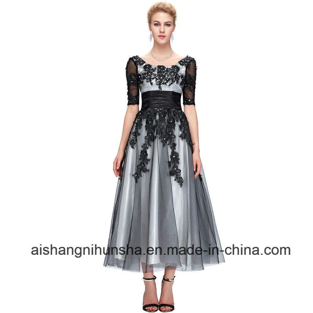 China Long Lace Elegant Half Sleeve Black White Champagne Evening ...