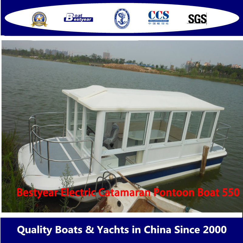 Bestyear 5.5m Fiberglass Electric Catamaran Pontoon Boat with Electric Motor pictures & photos