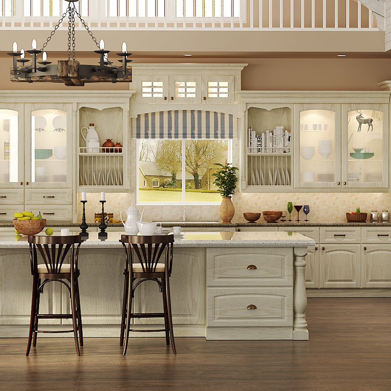 Hot Item Oppein Classic Oak Solid Wood Kitchen Cabinets Op15 S08